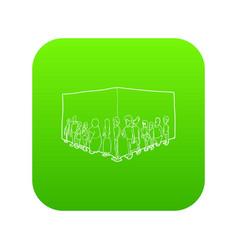 people queue icon green vector image