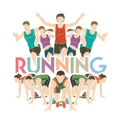 people running marathon runner with text running vector image