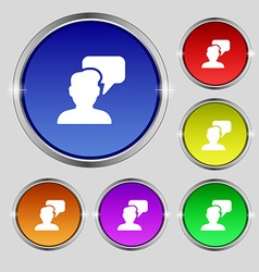 People talking icon sign Round symbol on bright vector