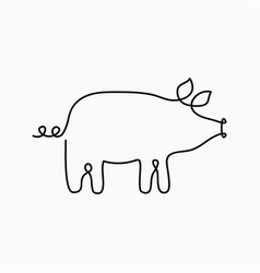 pig one line drawing continuous line swine vector image