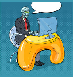 Pop art robotic man working with computer vector