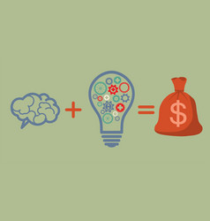 Profit and investment concept brains plus good vector