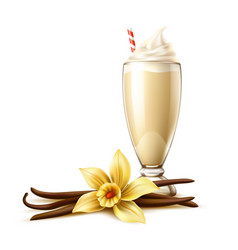 realistic vanilla milkshake in glass flower vector image