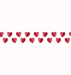 Red cartoon drawing 2 hearts in red entwined vector