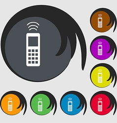 remote control icon sign Symbol on eight colored vector image