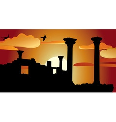 Ruins sunset vector image