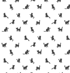 Seamless cat silhouette pattern vector