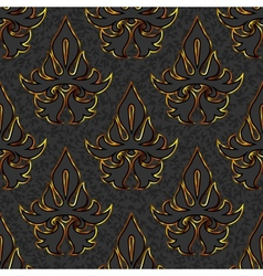 seamless floral damask black gold background vector image