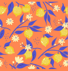 seamless pattern with lemons on an orange vector image