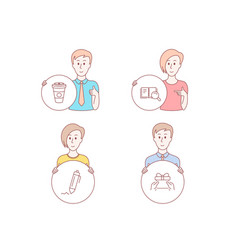 Search book takeaway coffee and signature icons vector