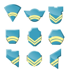 Set of badges with gold ribbons vector