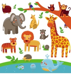 Set of cartoon animals - funny and cute vector