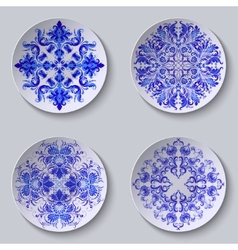 Set of floral circular plates vector image
