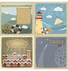 Set of vintage postcards vector image