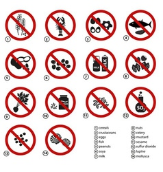 Set typical food alergens prohibitions vector
