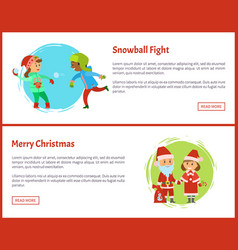 snowball fights and merry christmas characters vector image