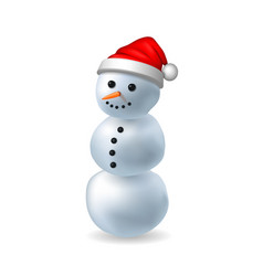 snowman 3d realistic snowman isolated white vector image