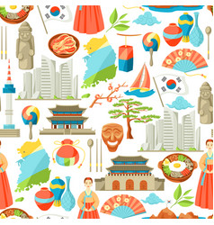 South korea seamless pattern korean traditional vector