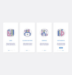 Stationery line supplies for school office ui ux vector