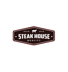 Steak house vintage retro cafe bar logo design vector