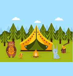 summer camping in forest tent fir trees bonfire vector image