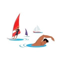 Swimming And Windsurfing on the Coast vector