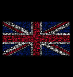 Uk flag collage of clock tower icons vector