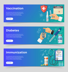 vaccination diabetes immunization banners vector image
