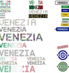 Venezia text design set vector