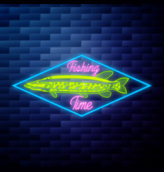 vintage fishing emblem glowing neon vector image