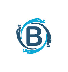 Water clean service abbreviation letter b vector
