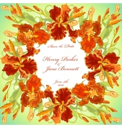 Wedding card with red iris flower wreath vector image