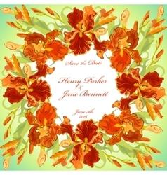 Wedding card with red iris flower wreath vector