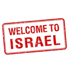 welcome to Israel red grunge square stamp vector image
