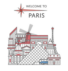 welcome to paris poster in linear style vector image