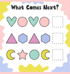 What shape comes next activity page for kids vector