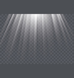 White sun rays and glow light effect on vector