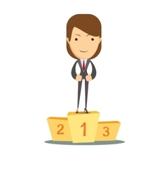 Woman proudly standing on the winning podium vector image