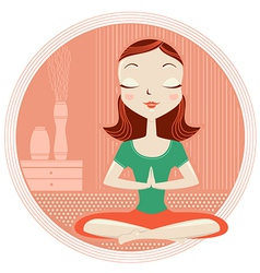 Yoga woman in lotus poses vector