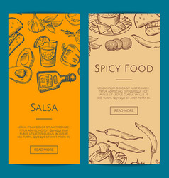 banner or flyer template with mexican food vector image