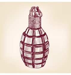 grenade hand drawn llustration realistic vector image vector image