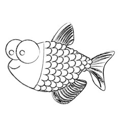 monochrome sketch of fish with big eyes and scales vector image vector image
