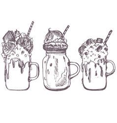 sketch of milkshakes vector image vector image