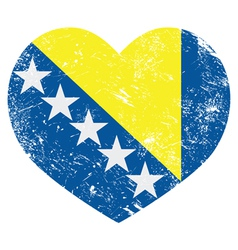 Bosnia and Herzegovina retro heart flag vector image vector image