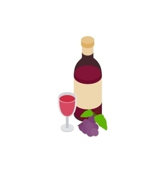 Bottle of red wine and glass icon vector image vector image