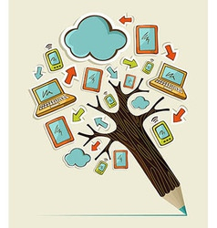 Mobile communication concept tree vector image vector image