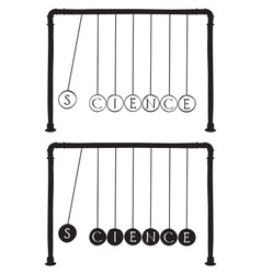 Newtons cradle with letters on balls vector image