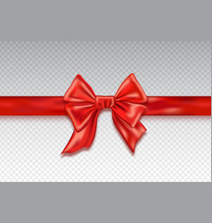 realistic red satin bows isolated on checkered vector image