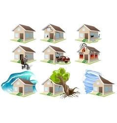 Set homes misfortune House insurance Property vector image vector image