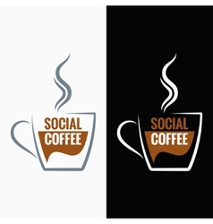 coffee cup social media concept background vector image vector image